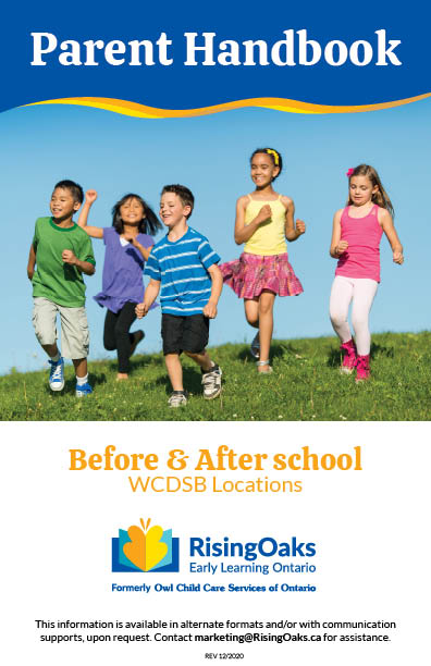 Handbook cover for before and after school programs at WCDSB locations